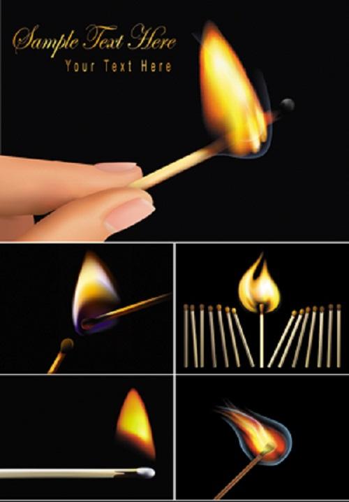 دنلود وکتور کبریت در حال سوختن Burning Matches Vector