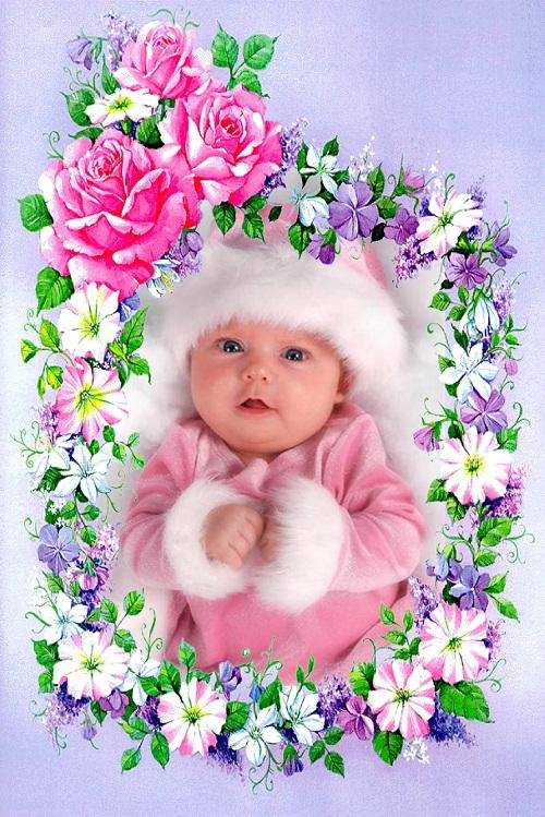 دانلود قاب عکس زیبا و کم حجم حلقه گل مخصوص کودکان
