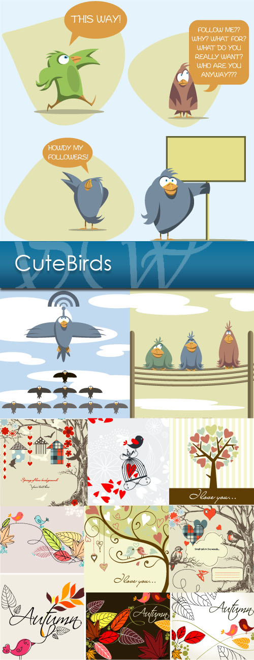 دانلود تصاویر وکتور زیبا از پرندگان Cute Birds Vector