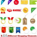 دانلود وکتور و لیبل ها و نشانه های خرید Different Shopping Elements Vector