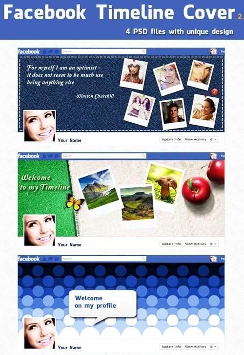 دانلود کاورها و قالب های زیبا برای تایم لاین فیس بوک Facebook Timeline Covers for Photoshop