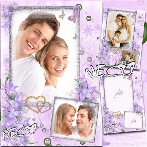 دانلود قاب عکس خانوادگی بسیار زیبا Family Frame with flowers - Happy Family