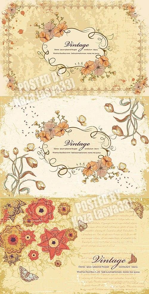 دانلود وکتور کارت دعوت های بسیار زیبا Floral invitations Vector