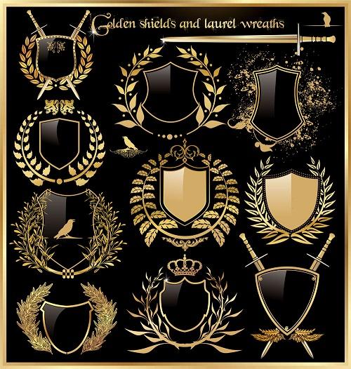 دانلود وکتور طلایی لیبل های سپری و کادر های طلایی Golden labels and shields