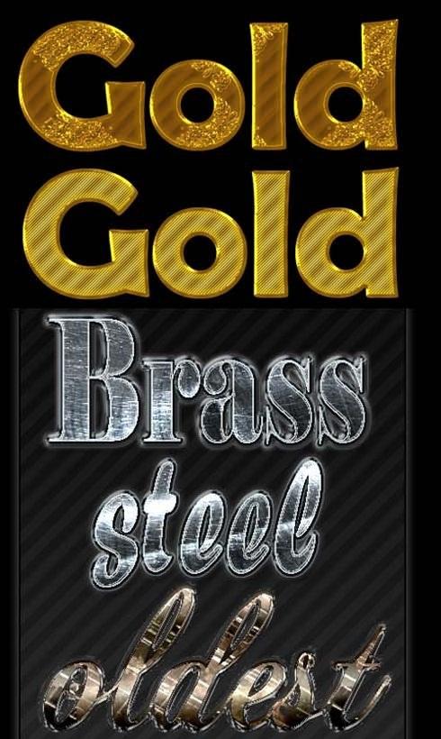 دانلود استایل طلایی و فلزی دیگر برای فتوشاپ Golden Text and Metal Styles for Photoshop