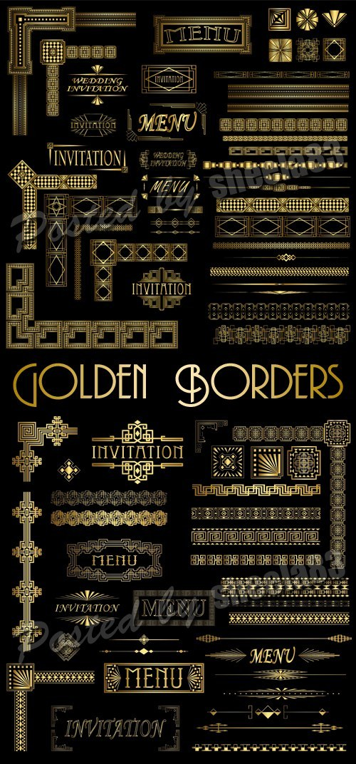 دانلود وکتور کادر و حاشیه طلایی برای طراحی Golden vector elements