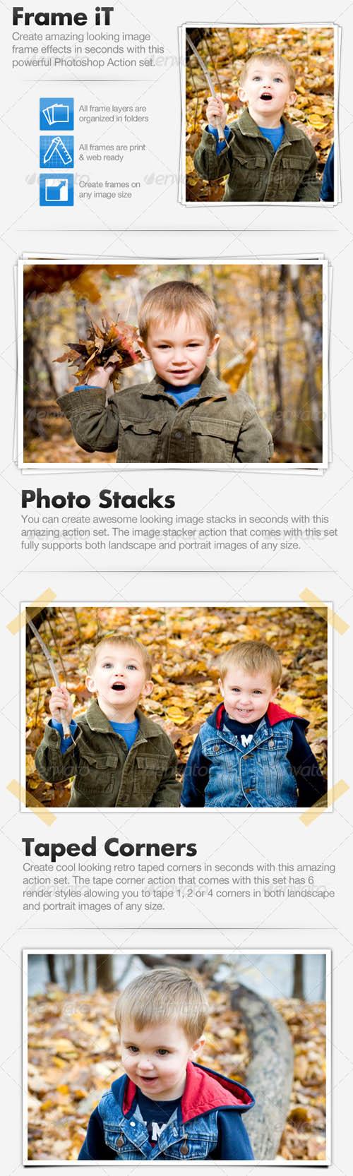 دانلود اکشن ساخت فریم و قاب برای عکس GraphicRiver Frame iT - Image Framing Action