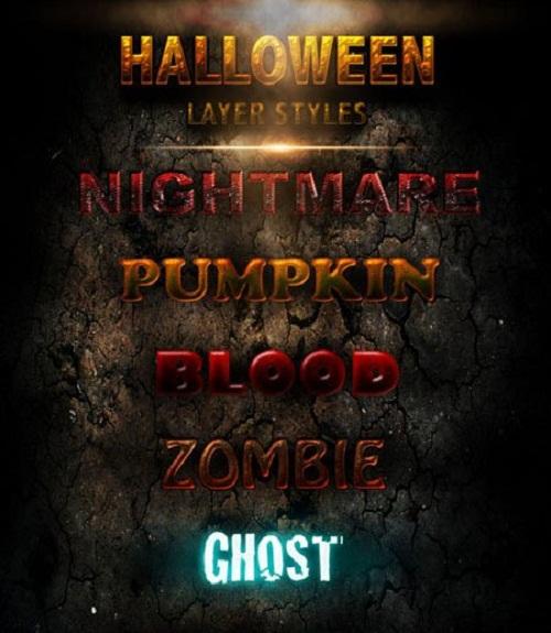 دانلود استایل های ترسناک هالووین Halloween Layer Styles for Photoshop