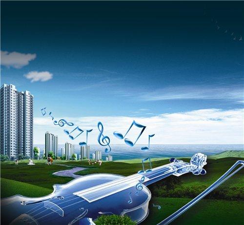 دانلود طرح لایه باز موسیقی و شهر PSD - Music of the City