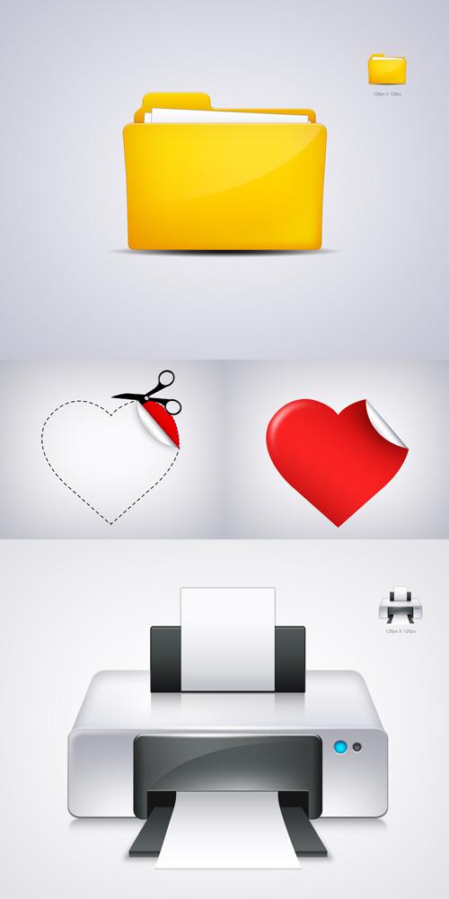 دانلود مجموعه ای از 3 آیکون لایه باز PSD Sources - Mix Icon Object
