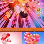 دانلود وکتور بکگراندهای گرافیکی عاشقانه Red heart  gift valentine's day vector