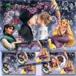 دانلود قاب عکس عاشقانه با طرح کارتون گیسو کمند  Romantic Love Frame with Rapunzel