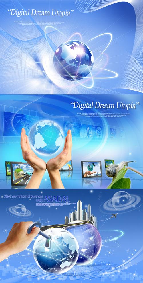 دانلود طرح لایه باز تجاری Sources - Planet of the business in hand