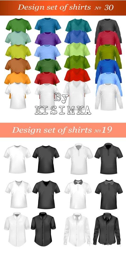 دانلود تصاویر وکتور انواع تی شرت و پیراهن Stock Design of T-shirts and shirts