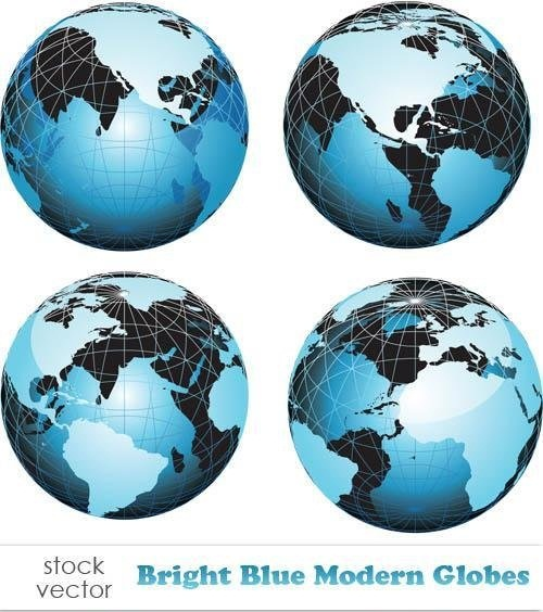دانلود تصاویر وکتور کره زمین Vectors - Bright Blue Modern Globes