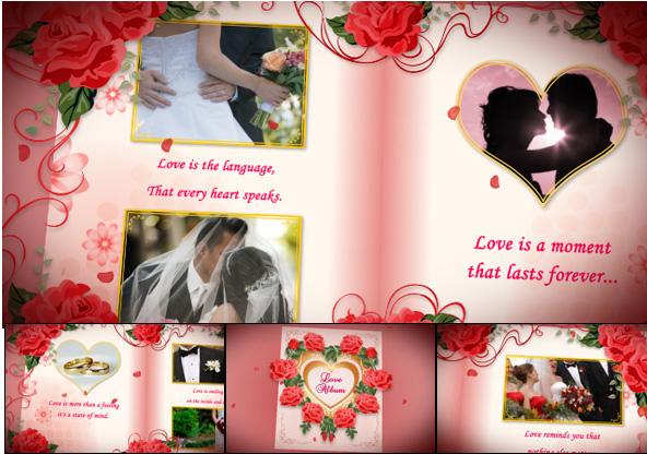 دانلود پروژه افترافکت آلبوم عکس ازدواج Wedding Album Red Roses - Project for After Effects