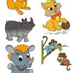 دانلود طرح لایه باز کارکترهای کارتونی زیبا Children's cartoon characters for Photoshop