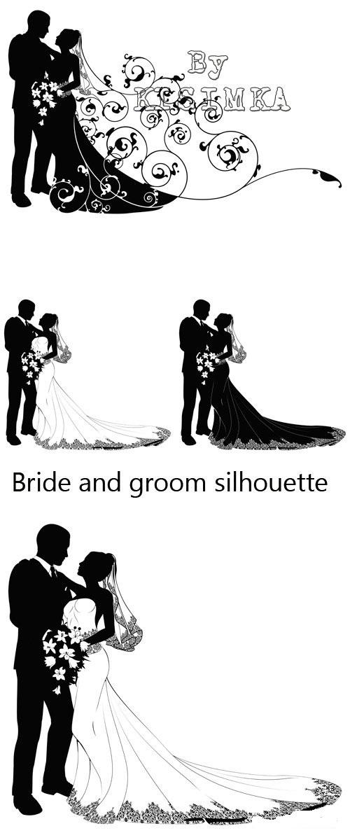 دانلود 3 طرح وکتور سیاه و سفید عروس و داماد