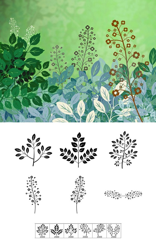 دانلود براش شاخه و برگ Forest Flora Brushes Set for Photoshop