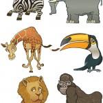دانلود تصاویر وکتور خنده دار از حیوانات آفریقا Funny African Animals Vector
