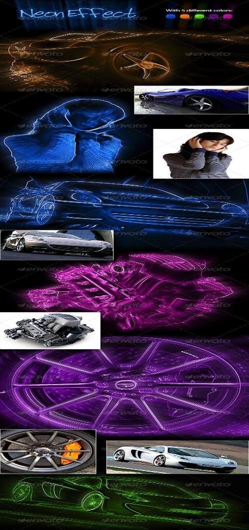 دانلود اکشن فوق العاده زیبای نئون برای فتوشاپ Neon Effect Photoshop Action