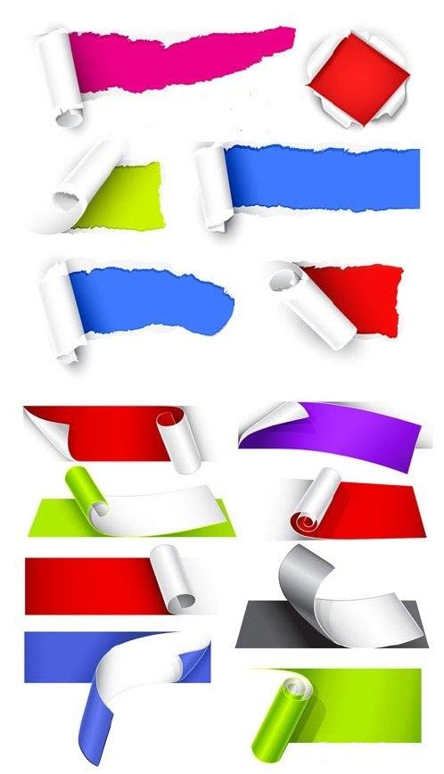 دانلود طرح وکتور نمونه های مختلف کاغذ پاره