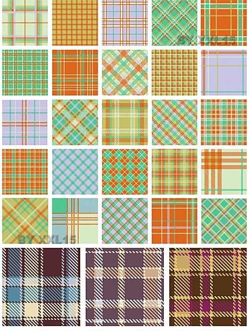دانلود الگوهای وکتوری پارچه ای و شطرنجی Plaid patterns set