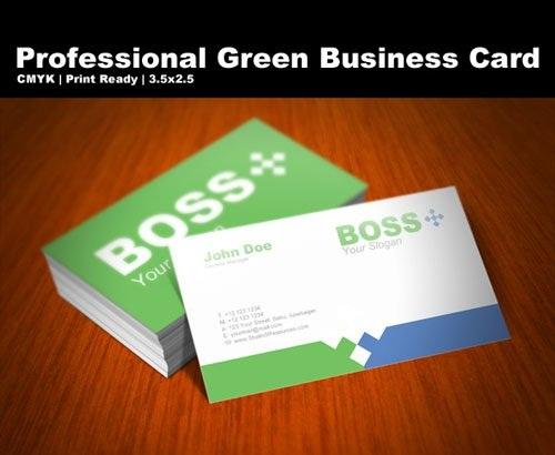 دانلود طرح لایه باز کارت ویزیت حرفه ای PSD Template - Professional Green Business Card