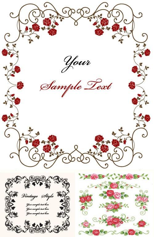 دانلود کادر و فریم های با طرح گل Rose Frames