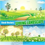 دانلود وکتورهای مناظر بهاری Spring landscape – Stock Vectors مناسب برای طرح های عید نوروز