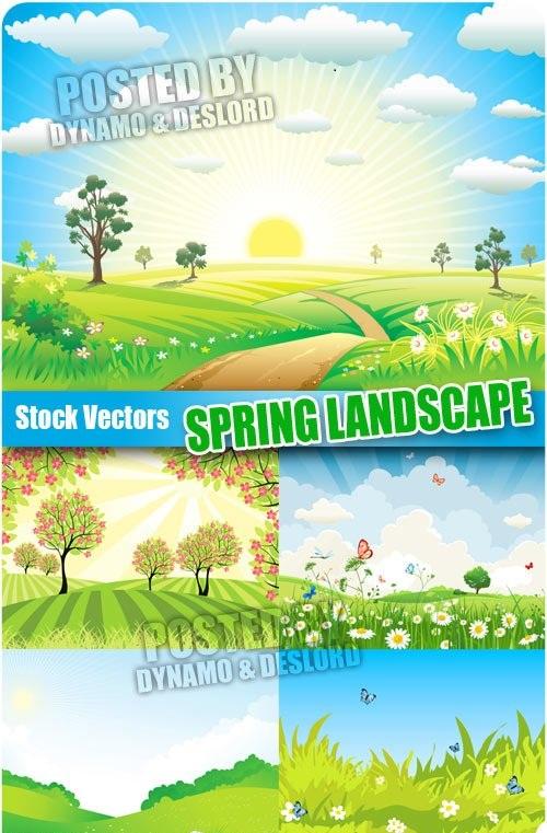دانلود وکتورهای مناظر بهاری Spring landscape - Stock Vectors مناسب برای طرح های عید نوروز