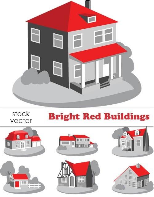 دانلود وکتور ساختمان Vectors - Bright Red Buildings