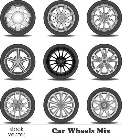 دانلود وکتور چرخ ماشین Vectors - Car Wheels Mix