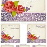 وکتور طرح گلدار کارت دعوت عروسی Vintage wedding invitations
