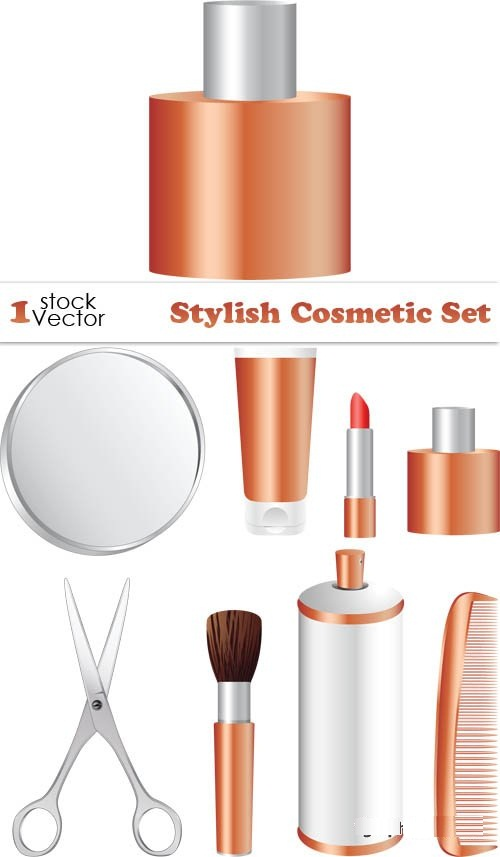 دانلود تصاویر وکتور لوازم آرایشی Stylish Cosmetic Set Vector
