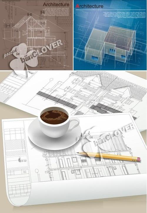 دانلود وکتور بکگراندهای با موضوع معماری و نقشه کشی ساختمان
