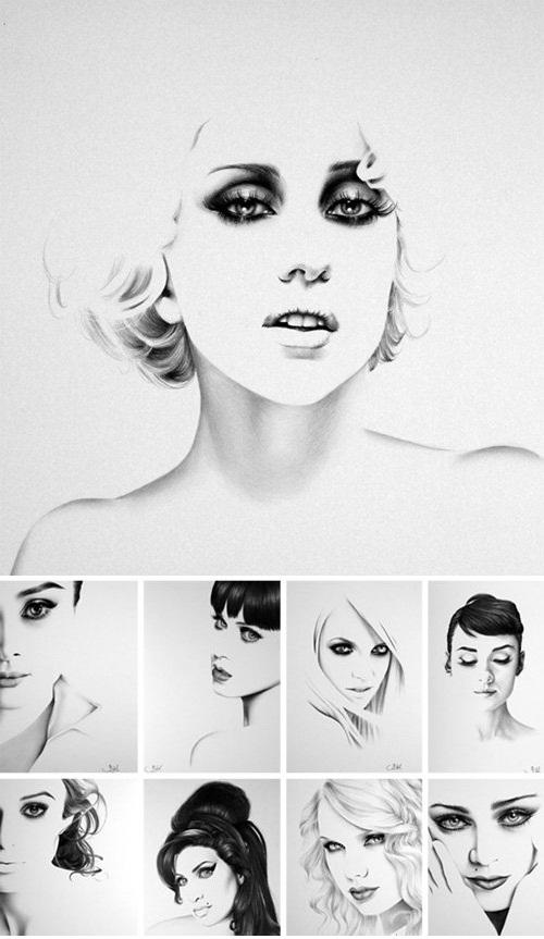 دانلود طراحی های و نقاشی های صورت خانم ها اثر Ileana Hunter