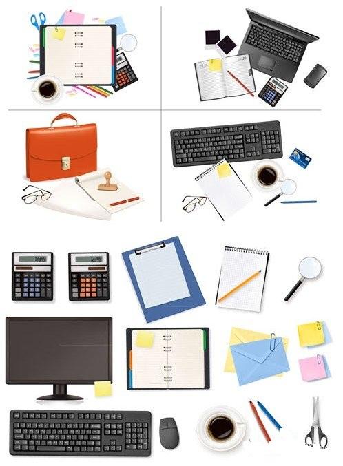 دانلود وکتور ست اداری Big Office Supplies Vector