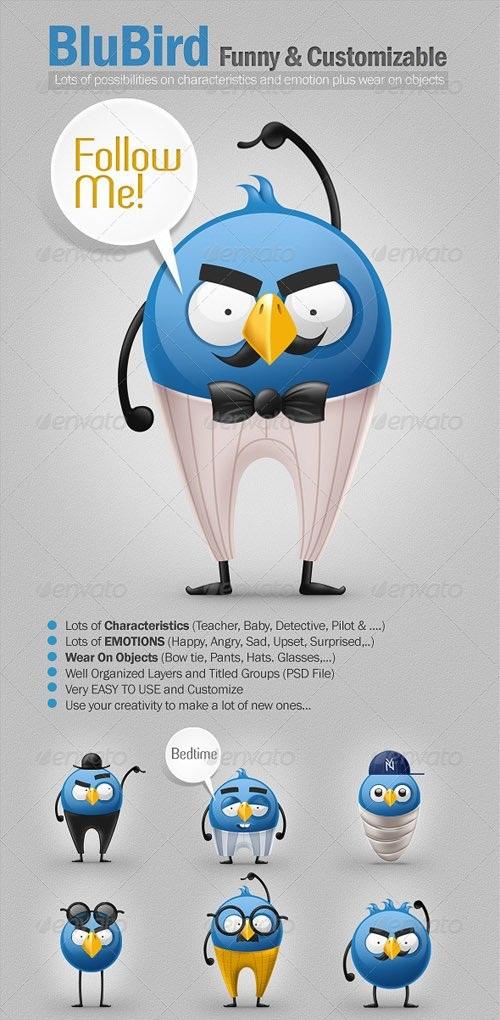 دانلود طرح لایه باز کارکتر های کمدی زیبا پرنده آبی رنگ در شخصیت های متفاوت