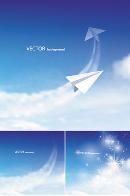 دانلود 4 وکتور زیبای آسمان آبی Blue Sky Backgrounds Vector