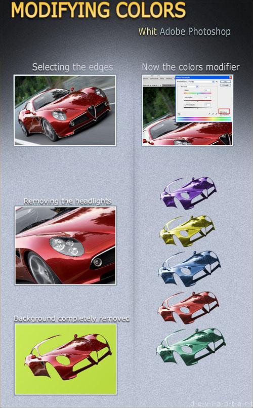 دانلود طرح لایه باز PSD برای تغییر رنگ ماشین در عکس Changing Color of a Car - Template in PSD