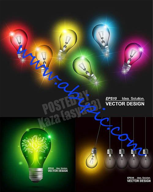 دانلود تصاویر وکتور لامپ های رنگی Color lamps Vector