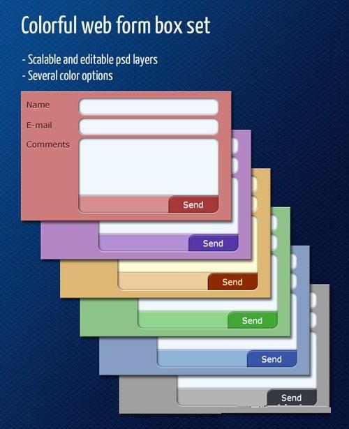دانلود طرح لایه باز PSD فرم و منو برای طراحی سایت