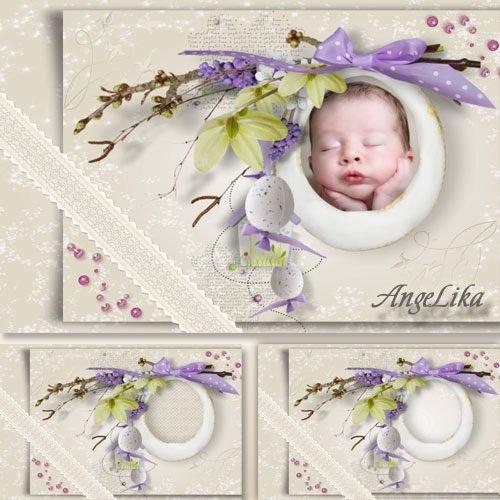 دانلود قاب عکس لایه باز PSD کودکانه طراحی شده با گل شماره 10