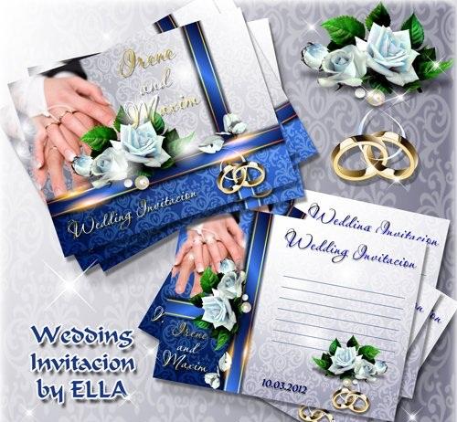 دانلود 2 طرح لایه باز PSD کارت دعوت زیبا برای عروسی شماره 3