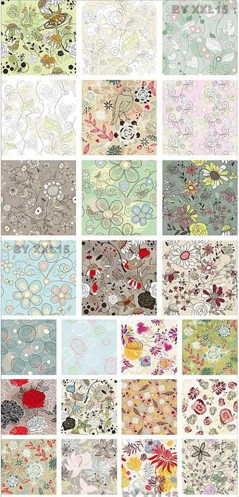 دانلود وکتور های پس زمینه با طرح گل و بوته Set of seamless floral backgrounds