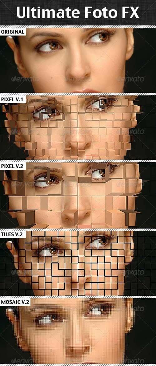 دانلود اکشن مکعبی و شطرنجی کردن عکس در فتوشاپ Ultimate Foto FX