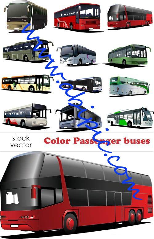 دانلود عکس های وکتور انواع مختلف اتوبوس Vectors - Color Passenger buses