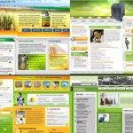 دانلود 10 طرح لایه باز PSD قالب سایت با دو رنگ سبز و زرد