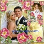 دانلود قاب عکس ازدواج طراحی شده با گل های زیبا